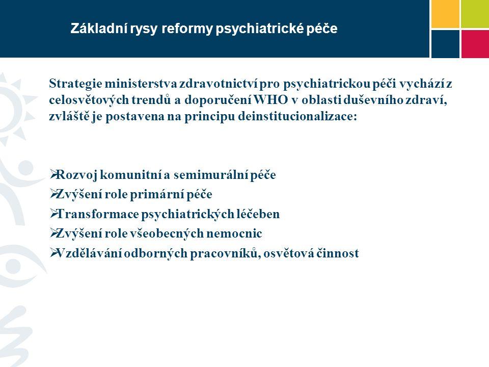 Základní rysy reformy psychiatrické péče Strategie ministerstva zdravotnictví pro psychiatrickou péči vychází z celosvětových trendů a doporučení WHO v oblasti duševního zdraví, zvláště je postavena na principu deinstitucionalizace:  Rozvoj komunitní a semimurální péče  Zvýšení role primární péče  Transformace psychiatrických léčeben  Zvýšení role všeobecných nemocnic  Vzdělávání odborných pracovníků, osvětová činnost