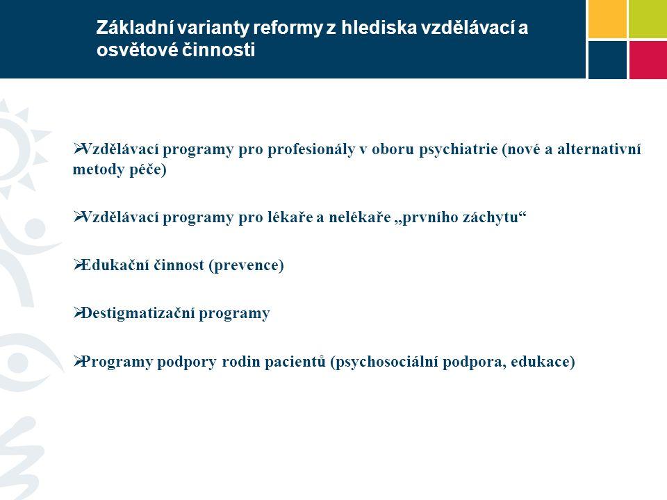 Základní varianty reformy z hlediska vzdělávací a osvětové činnosti  Vzdělávací programy pro profesionály v oboru psychiatrie (nové a alternativní me