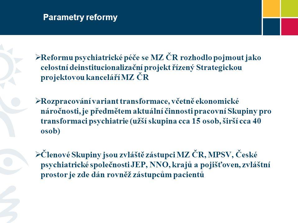 Parametry reformy  Reformu psychiatrické péče se MZ ČR rozhodlo pojmout jako celostní deinstitucionalizační projekt řízený Strategickou projektovou k