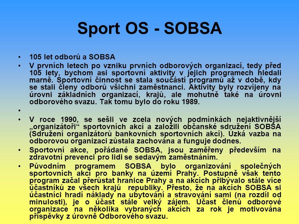 Sport OS - SOBSA 105 let odborů a SOBSA V prvních letech po vzniku prvních odborových organizací, tedy před 105 lety, bychom asi sportovní aktivity v