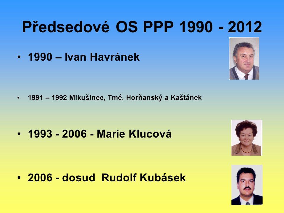 Předsedové OS PPP 1990 - 2012 1990 – Ivan Havránek 1991 – 1992 Mikušinec, Tmé, Horňanský a Kaštánek 1993 - 2006 - Marie Klucová 2006 - dosud Rudolf Ku