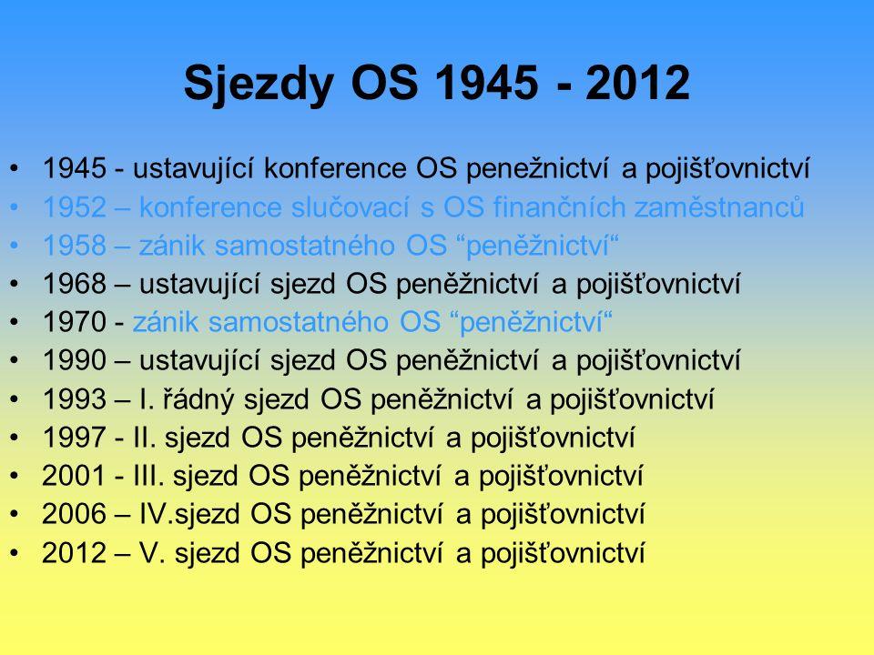 Sjezdy OS 1945 - 2012 1945 - ustavující konference OS penežnictví a pojišťovnictví 1952 – konference slučovací s OS finančních zaměstnanců 1958 – záni