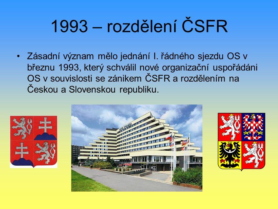 1993 – rozdělení ČSFR Zásadní význam mělo jednání I. řádného sjezdu OS v březnu 1993, který schválil nové organizační uspořádáni OS v souvislosti se z