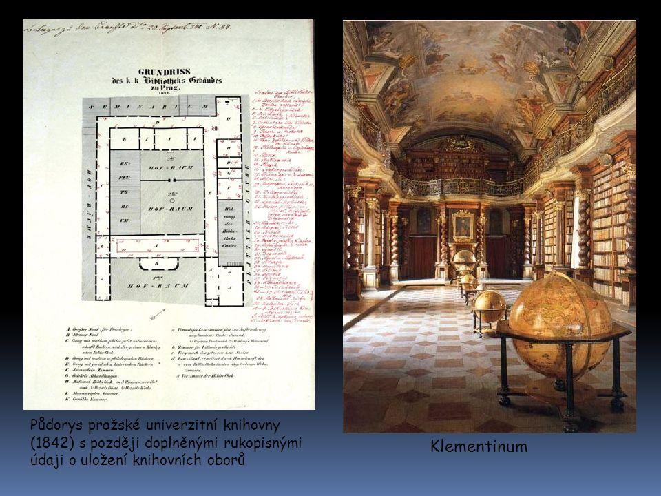 Půdorys pražské univerzitní knihovny (1842) s později doplněnými rukopisnými údaji o uložení knihovních oborů Klementinum