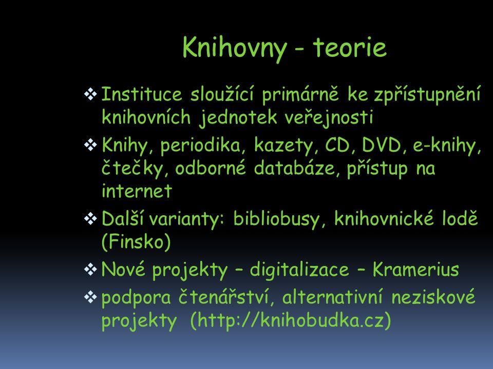Knihovny - teorie  Instituce sloužící primárně ke zpřístupnění knihovních jednotek veřejnosti  Knihy, periodika, kazety, CD, DVD, e-knihy, čtečky, odborné databáze, přístup na internet  Další varianty: bibliobusy, knihovnické lodě (Finsko)  Nové projekty – digitalizace – Kramerius  podpora čtenářství, alternativní neziskové projekty (http://knihobudka.cz)