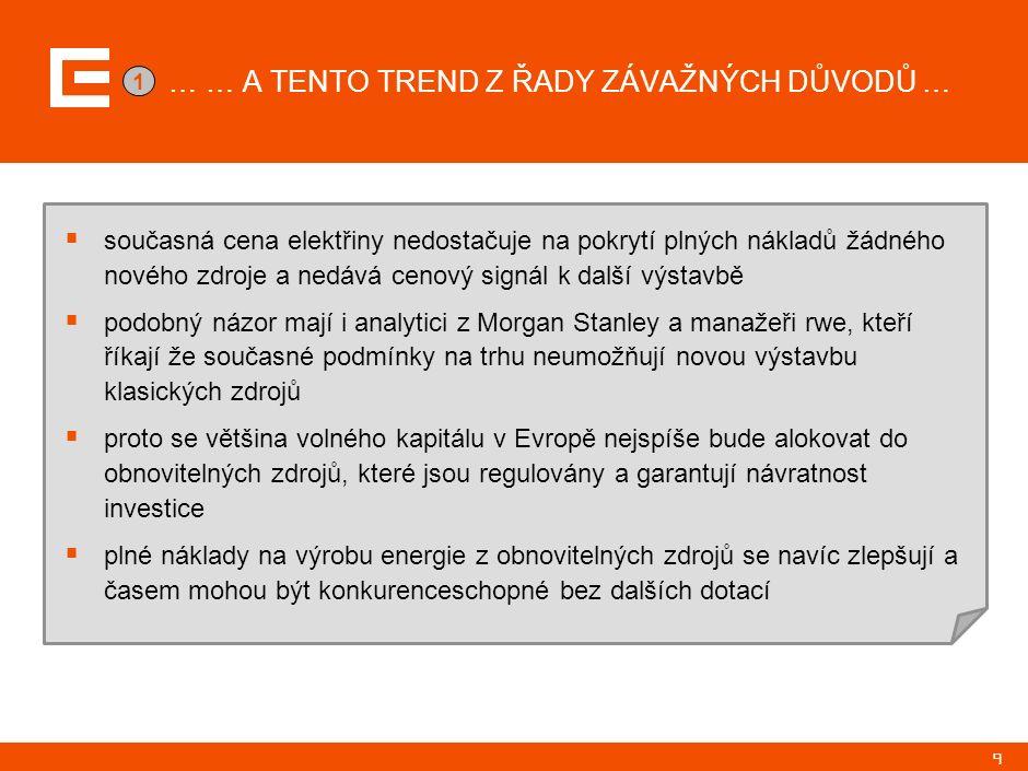 9 … … A TENTO TREND Z ŘADY ZÁVAŽNÝCH DŮVODŮ …  současná cena elektřiny nedostačuje na pokrytí plných nákladů žádného nového zdroje a nedává cenový si