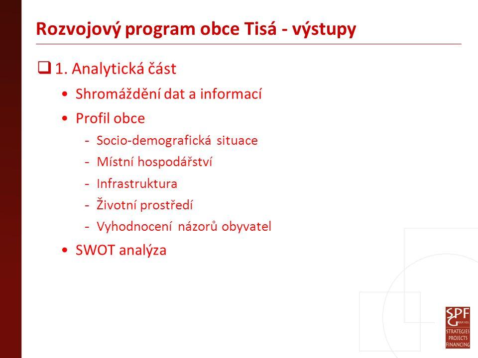 Rozvojový program obce Tisá - výstupy  1.