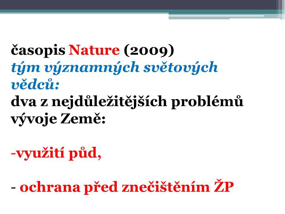 časopis Nature (2009) tým významných světových vědců: dva z nejdůležitějších problémů vývoje Země: -využití půd, - ochrana před znečištěním ŽP