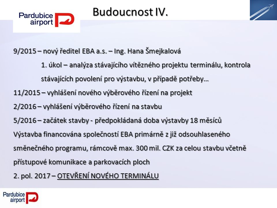 Budoucnost IV. 9/2015 – nový ředitel EBA a.s. – Ing.