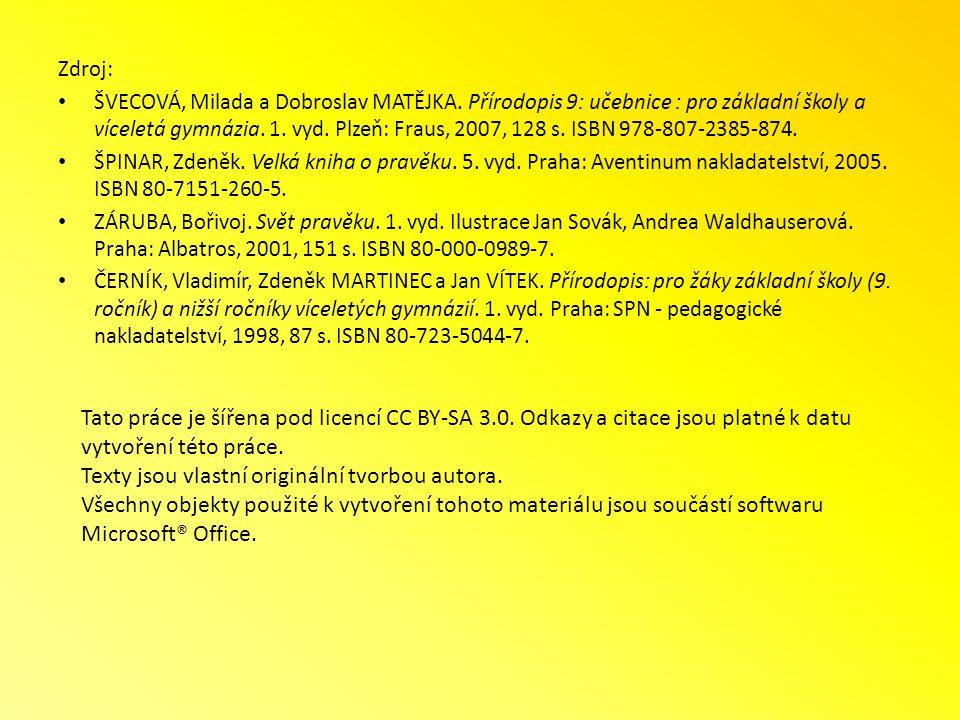 Zdroj: ŠVECOVÁ, Milada a Dobroslav MATĚJKA. Přírodopis 9: učebnice : pro základní školy a víceletá gymnázia. 1. vyd. Plzeň: Fraus, 2007, 128 s. ISBN 9