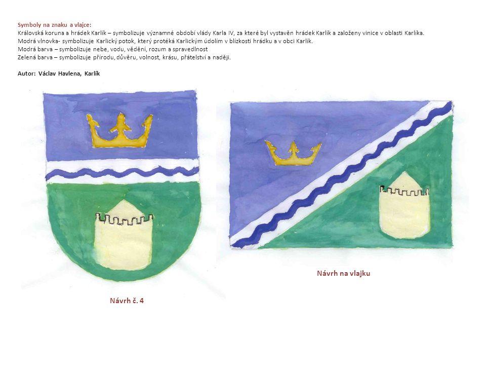 Symboly na znaku a vlajce: Královská koruna a hrádek Karlík – symbolizuje významné období vlády Karla IV, za které byl vystavěn hrádek Karlík a založeny vinice v oblasti Karlíka.