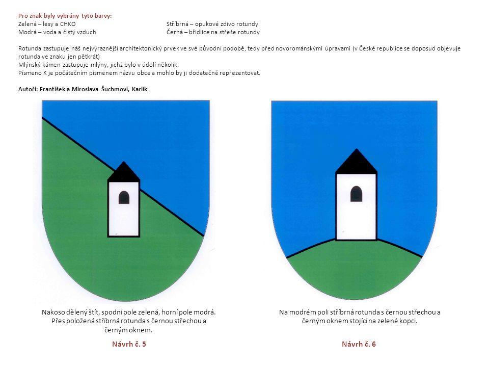Pro znak byly vybrány tyto barvy: Zelená – lesy a CHKO Stříbrná – opukové zdivo rotundy Modrá – voda a čistý vzduch Černá – břidlice na střeše rotundy Rotunda zastupuje náš nejvýraznější architektonický prvek ve své původní podobě, tedy před novorománskými úpravami (v České republice se doposud objevuje rotunda ve znaku jen pětkrát) Mlýnský kámen zastupuje mlýny, jichž bylo v údolí několik.