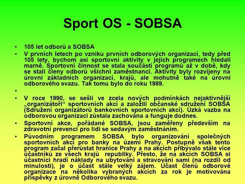 Sport OS - SOBSA 105 let odborů a SOBSA V prvních letech po vzniku prvních odborových organizací, tedy před 105 lety, bychom asi sportovní aktivity v jejich programech hledali marně.