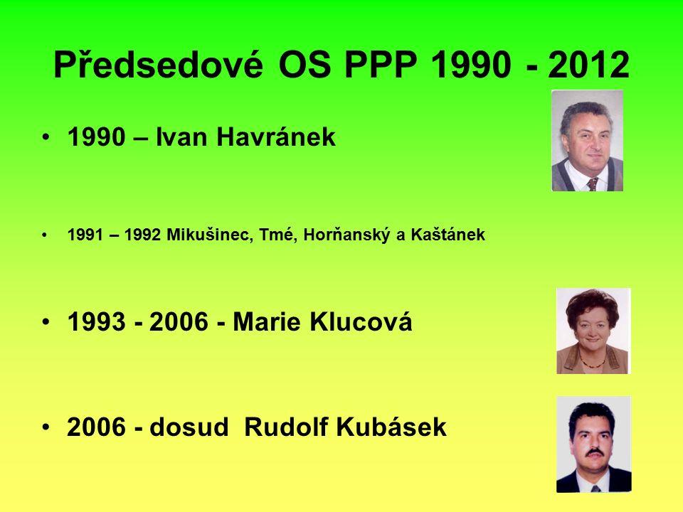 Předsedové OS PPP 1990 - 2012 1990 – Ivan Havránek 1991 – 1992 Mikušinec, Tmé, Horňanský a Kaštánek 1993 - 2006 - Marie Klucová 2006 - dosud Rudolf Kubásek