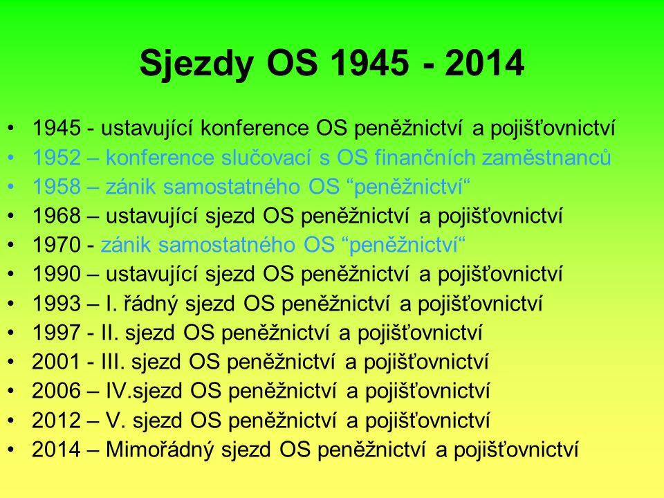 Sjezdy OS 1945 - 2014 1945 - ustavující konference OS peněžnictví a pojišťovnictví 1952 – konference slučovací s OS finančních zaměstnanců 1958 – zánik samostatného OS peněžnictví 1968 – ustavující sjezd OS peněžnictví a pojišťovnictví 1970 - zánik samostatného OS peněžnictví 1990 – ustavující sjezd OS peněžnictví a pojišťovnictví 1993 – I.