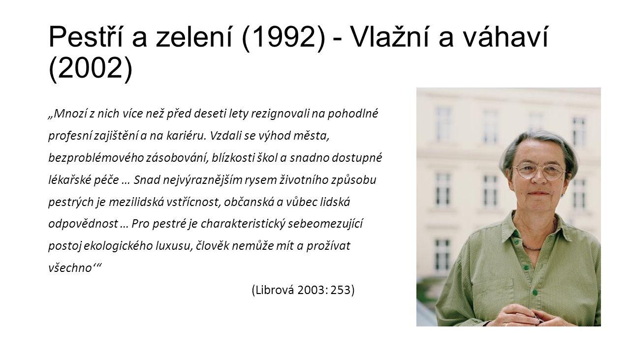 """Pestří a zelení (1992) - Vlažní a váhaví (2002) """"Mnozí z nich více než před deseti lety rezignovali na pohodlné profesní zajištění a na kariéru."""