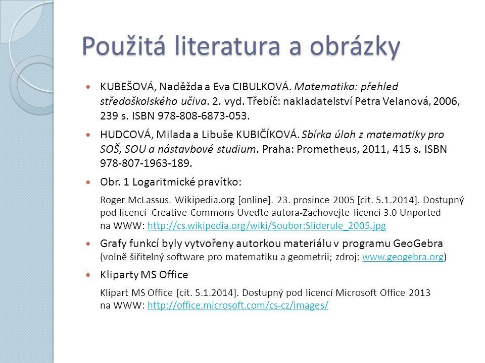 Použitá literatura a obrázky KUBEŠOVÁ, Naděžda a Eva CIBULKOVÁ.