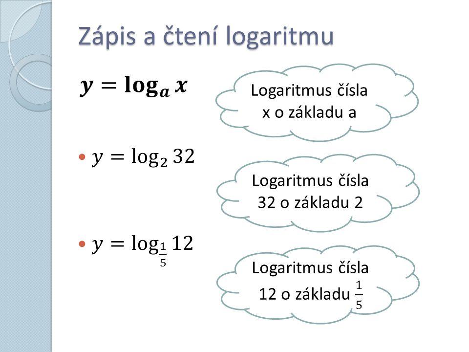 Zápis a čtení logaritmu Logaritmus čísla x o základu a Logaritmus čísla 32 o základu 2