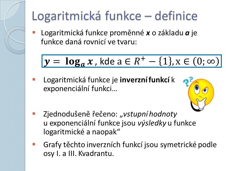 """Logaritmická funkce – definice  Logaritmická funkce proměnné x o základu a je funkce daná rovnicí ve tvaru:  Logaritmická funkce je inverzní funkcí k exponenciální funkci…  Zjednodušeně řečeno: """"vstupní hodnoty u exponenciální funkce jsou výsledky u funkce logaritmické a naopak  Grafy těchto inverzních funkcí jsou symetrické podle osy I."""