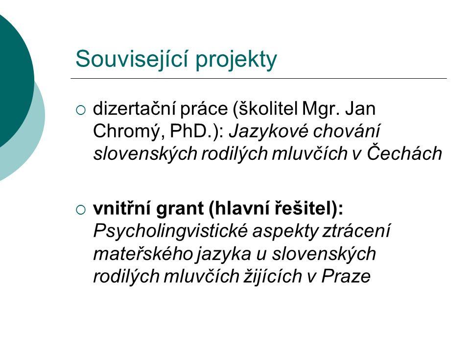 Související projekty  dizertační práce (školitel Mgr.