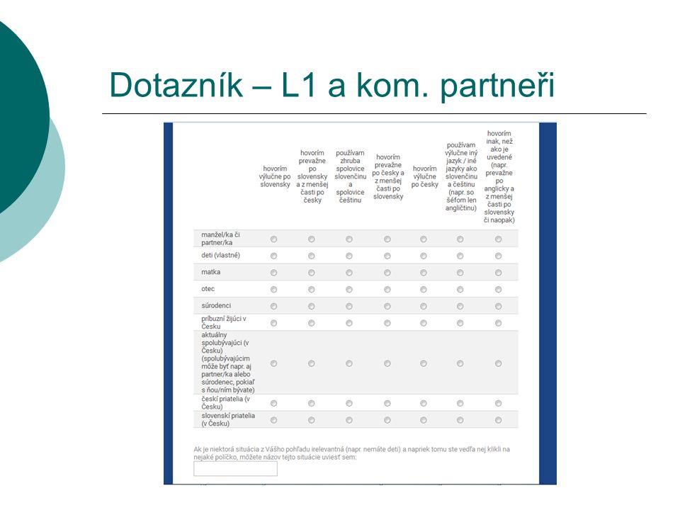 Dotazník – L1 a kom. partneři