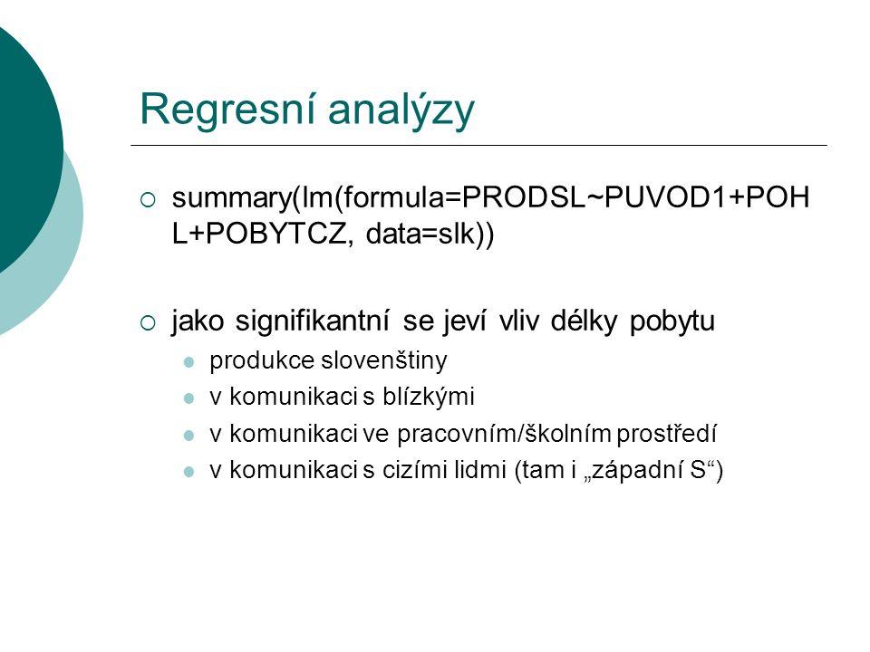 """Regresní analýzy  summary(lm(formula=PRODSL~PUVOD1+POH L+POBYTCZ, data=slk))  jako signifikantní se jeví vliv délky pobytu produkce slovenštiny v komunikaci s blízkými v komunikaci ve pracovním/školním prostředí v komunikaci s cizími lidmi (tam i """"západní S )"""