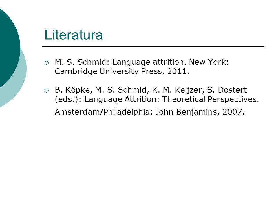 Literatura  M. S. Schmid: Language attrition. New York: Cambridge University Press, 2011.