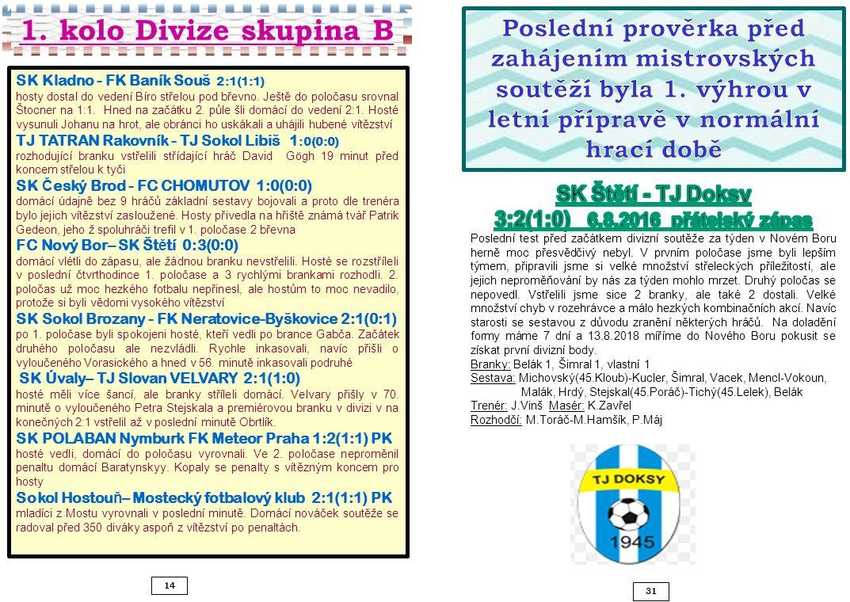 14 31 SK Kladno - FK Baník Souš 2:1(1:1) hosty dostal do vedení Bíro střelou pod břevno.