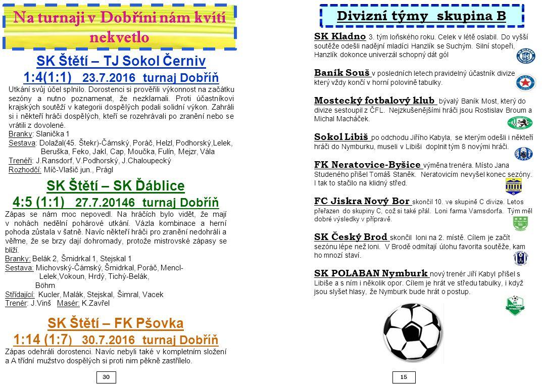 15 30 SK Štětí – TJ Sokol Černiv 1:4(1:1) 23.7.2016 turnaj Dobříň Utkání svůj účel splnilo.