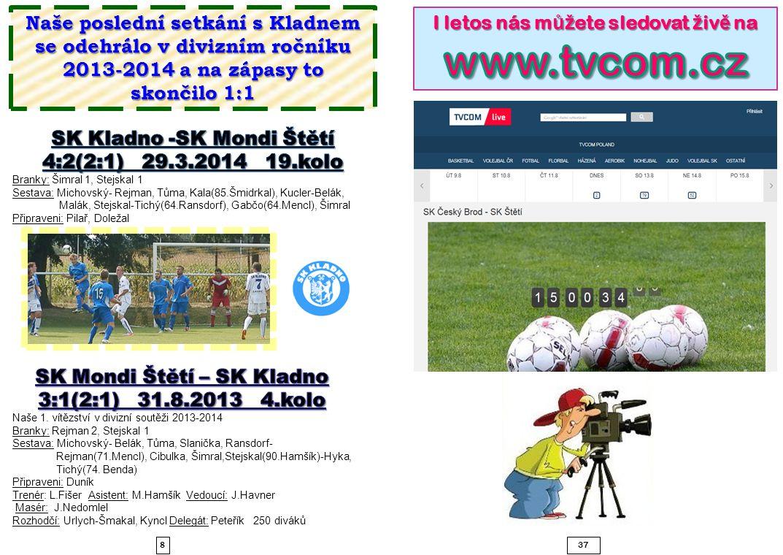 837 Naše poslední setkání s Kladnem se odehrálo v divizním ročníku 2013-2014 a na zápasy to skončilo 1:1