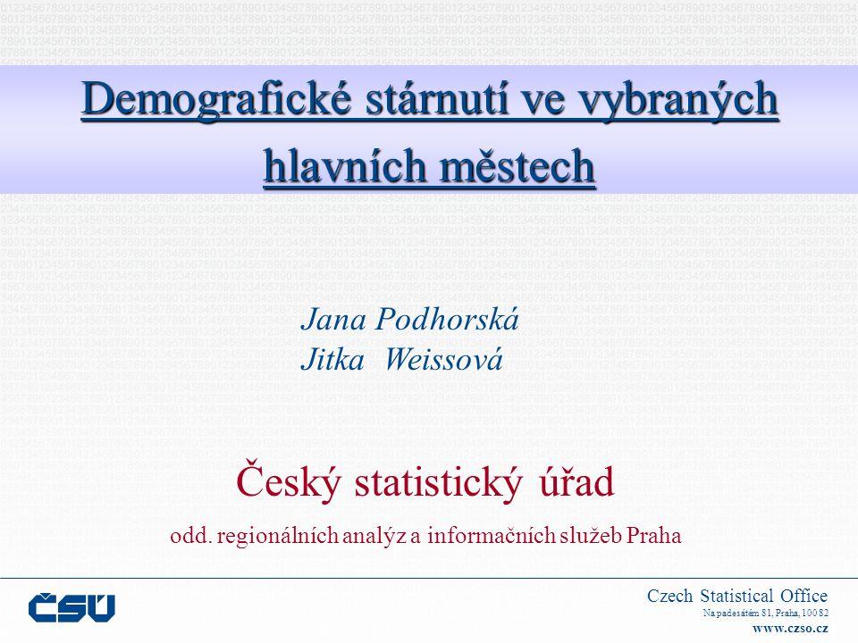 Czech Statistical Office Na padesátém 81, Praha, 100 82 www.czso.czSouhrn 1.Demografické stárnutí populace – se zvyšujícím se standardem života se snižuje počet narozených dětí 2.Způsobuje zvyšující se naděje dožití, snižující se počet narozených dětí 3.Obyvatelstvo ve věku 65+: v budoucnosti více vzdělané než kdykoliv v minulosti 4.Starší obyvatelstvo bude představovat heterogenní skupinu s rozličnými charakteristikami a potřebami
