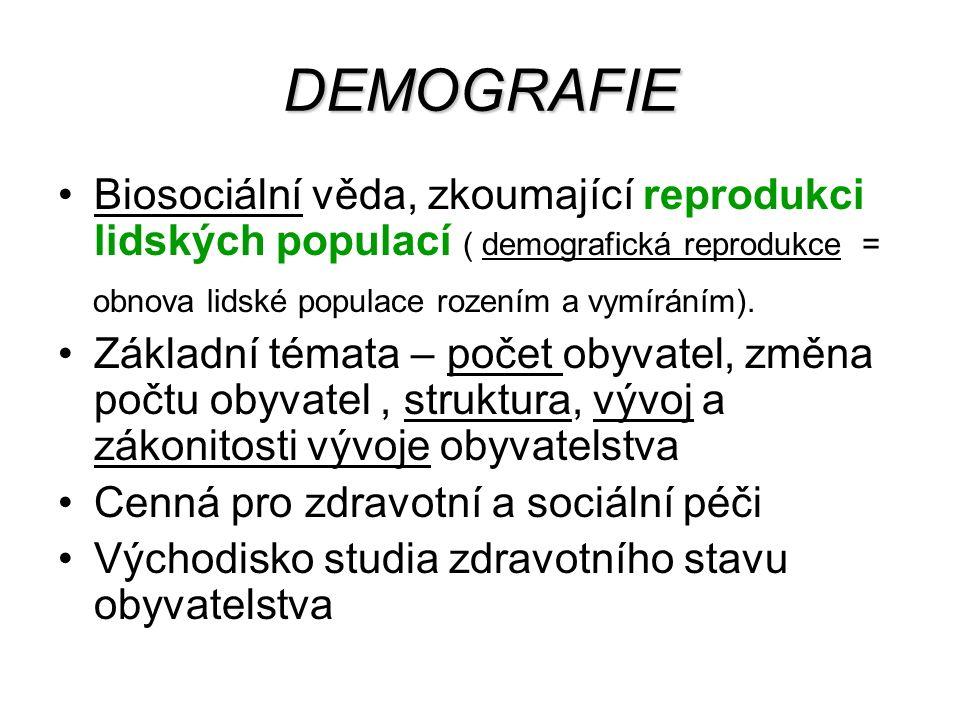 Demografická statistika Demografická statika /statistika stavu obyvatel/, registruje a hodnotí počet obyvatelstva, jeho rozmístění a strukturu Demografická dynamika /statistika pohybu čili měny obyvatel/ - 1.měna přirozená 2.měna mechanická 3.měna sociálně-právní