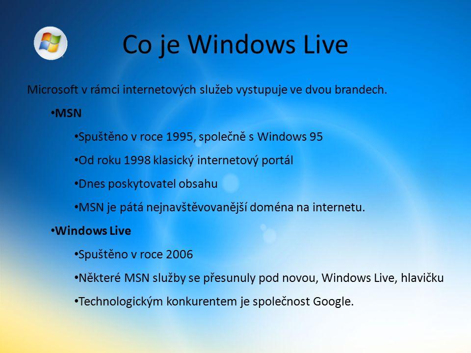 Co je Windows Live Microsoft v rámci internetových služeb vystupuje ve dvou brandech.
