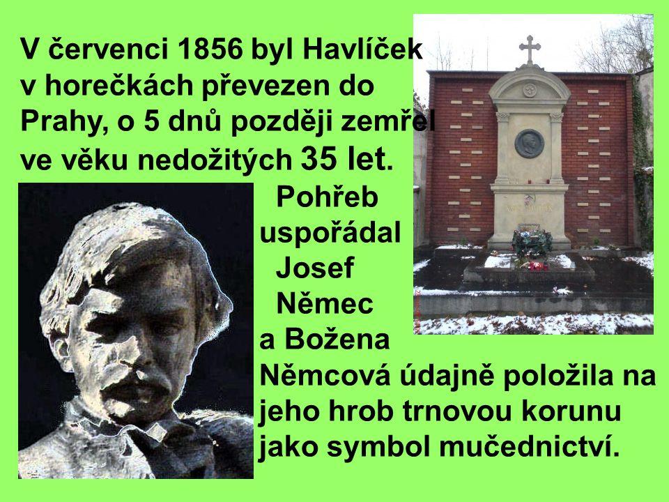 V červenci 1856 byl Havlíček v horečkách převezen do Prahy, o 5 dnů později zemřel ve věku nedožitých 35 let.