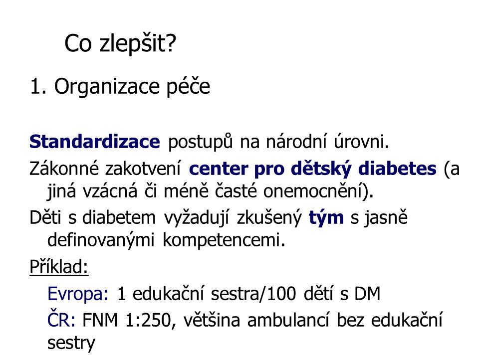 1. Organizace péče Standardizace postupů na národní úrovni.