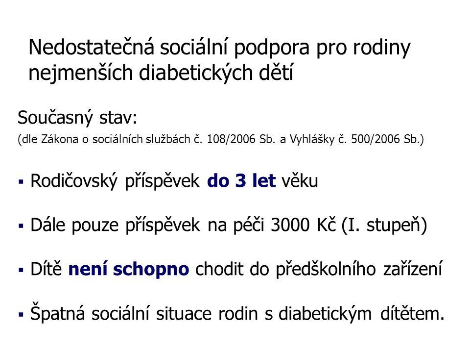 Nedostatečná sociální podpora pro rodiny nejmenších diabetických dětí Současný stav: (dle Zákona o sociálních službách č.