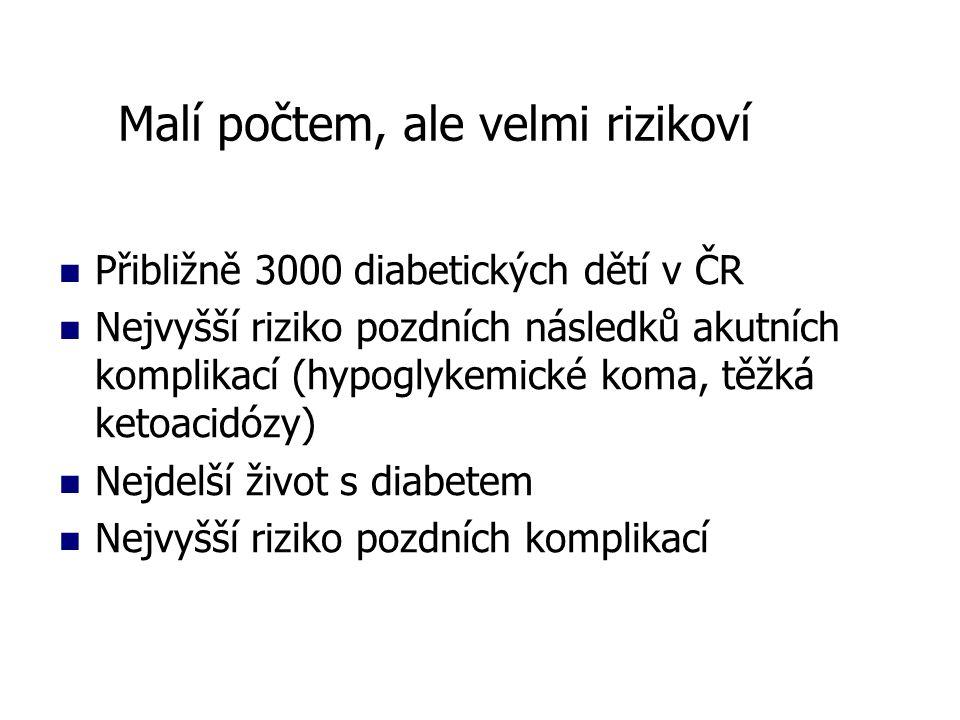 Přibližně 3000 diabetických dětí v ČR Nejvyšší riziko pozdních následků akutních komplikací (hypoglykemické koma, těžká ketoacidózy) Nejdelší život s diabetem Nejvyšší riziko pozdních komplikací Malí počtem, ale velmi rizikoví