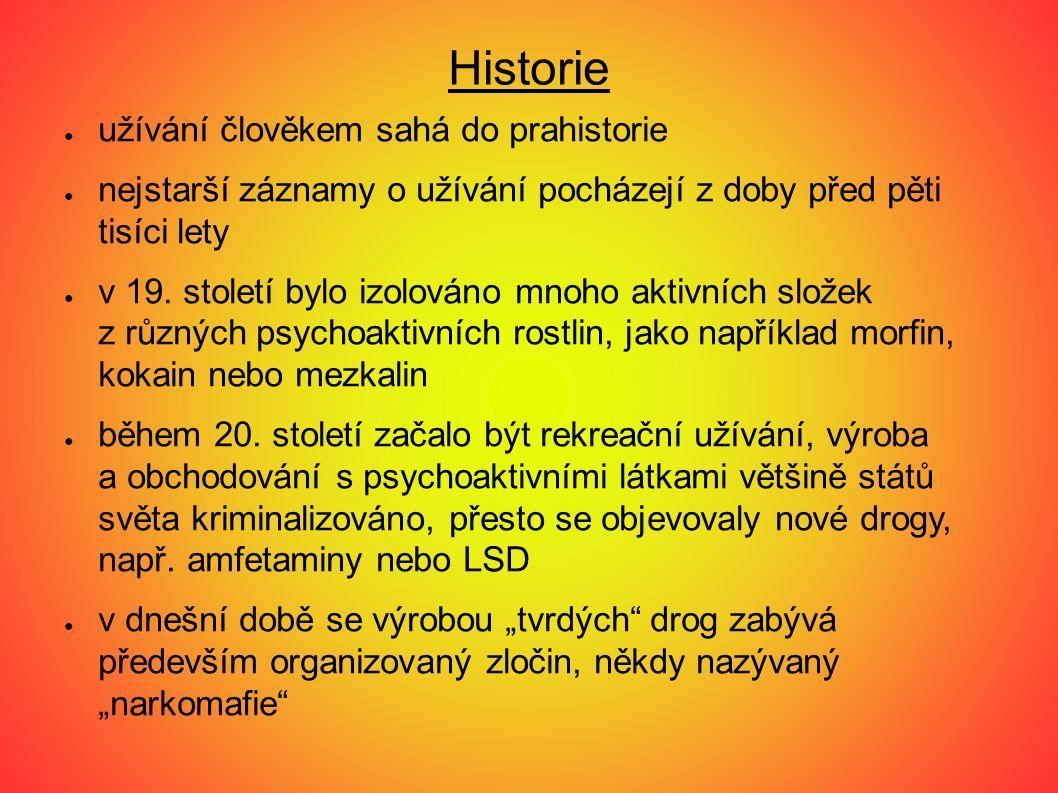 Historie ● užívání člověkem sahá do prahistorie ● nejstarší záznamy o užívání pocházejí z doby před pěti tisíci lety ● v 19.