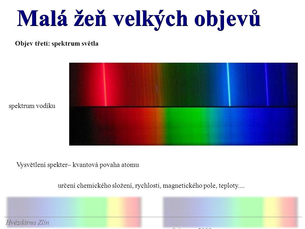 Malá žeň velkých objevů Hvězdárna Zlín 9.června 2008 Objev třetí: spektrum světla spektrum vodíku Vysvětlení spekter– kvantová povaha atomu určení chemického složení, rychlosti, magnetického pole, teploty....