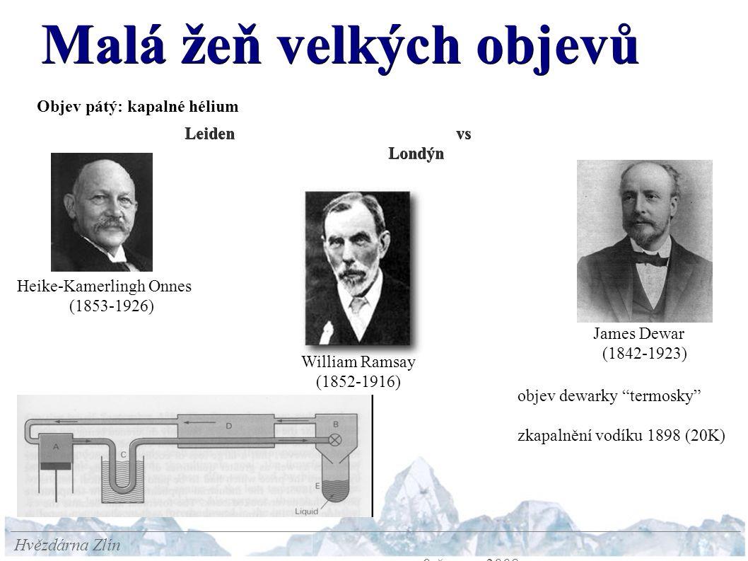 Malá žeň velkých objevů Hvězdárna Zlín 9.června 2008 Objev pátý: kapalné hélium Leiden vs Londýn Heike-Kamerlingh Onnes (1853-1926) James Dewar (1842-1923) William Ramsay (1852-1916) objev dewarky termosky zkapalnění vodíku 1898 (20K)