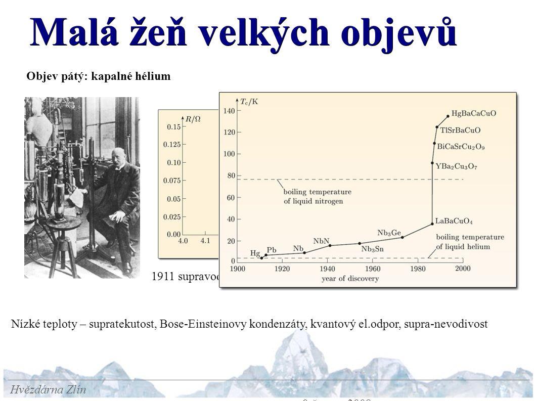 Malá žeň velkých objevů Hvězdárna Zlín 9.června 2008 Objev pátý: kapalné hélium 1911 supravodivost Hg Nízké teploty – supratekutost, Bose-Einsteinovy kondenzáty, kvantový el.odpor, supra-nevodivost