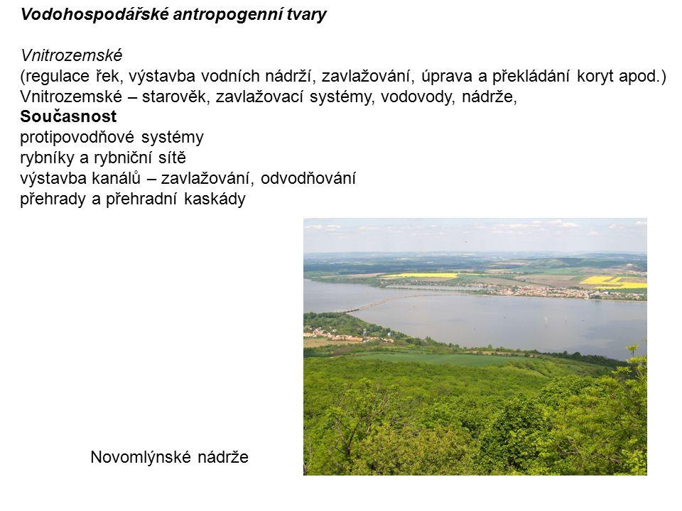 Vodohospodářské antropogenní tvary Vnitrozemské (regulace řek, výstavba vodních nádrží, zavlažování, úprava a překládání koryt apod.) Vnitrozemské – starověk, zavlažovací systémy, vodovody, nádrže, Současnost protipovodňové systémy rybníky a rybniční sítě výstavba kanálů – zavlažování, odvodňování přehrady a přehradní kaskády Novomlýnské nádrže