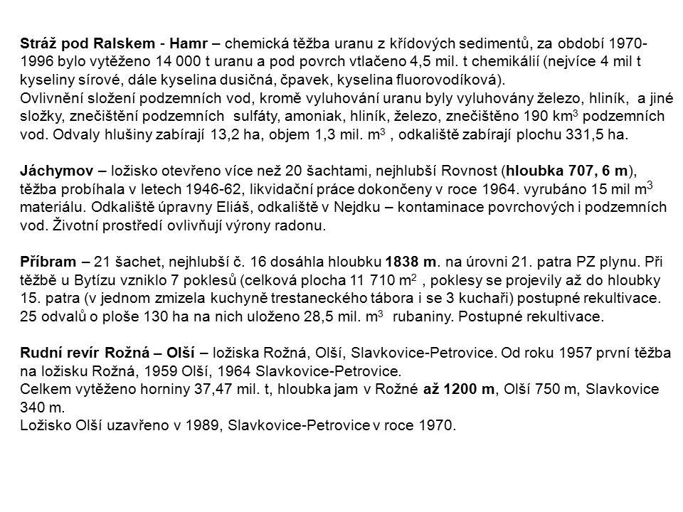 Stráž pod Ralskem - Hamr – chemická těžba uranu z křídových sedimentů, za období 1970- 1996 bylo vytěženo 14 000 t uranu a pod povrch vtlačeno 4,5 mil.