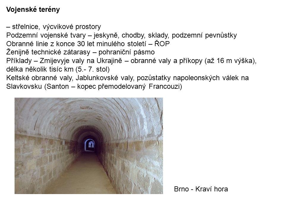 Vojenské terény – střelnice, výcvikové prostory Podzemní vojenské tvary – jeskyně, chodby, sklady, podzemní pevnůstky Obranné linie z konce 30 let minulého století – ŘOP Ženijně technické zátarasy – pohraniční pásmo Příklady – Zmijevyje valy na Ukrajině – obranné valy a příkopy (až 16 m výška), délka několik tisíc km (5.- 7.