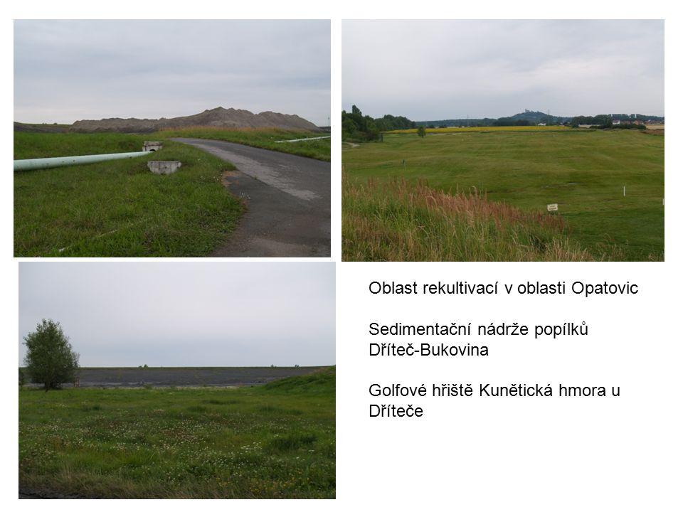 Oblast rekultivací v oblasti Opatovic Sedimentační nádrže popílků Dříteč-Bukovina Golfové hřiště Kunětická hmora u Dříteče