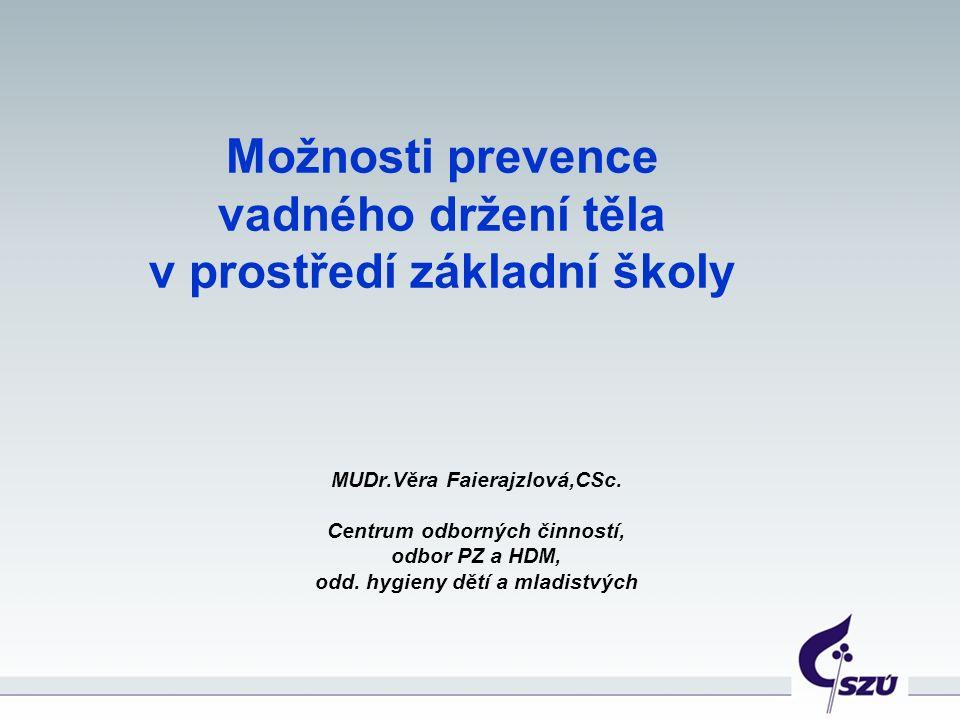 Možnosti prevence vadného držení těla v prostředí základní školy MUDr.Věra Faierajzlová,CSc.