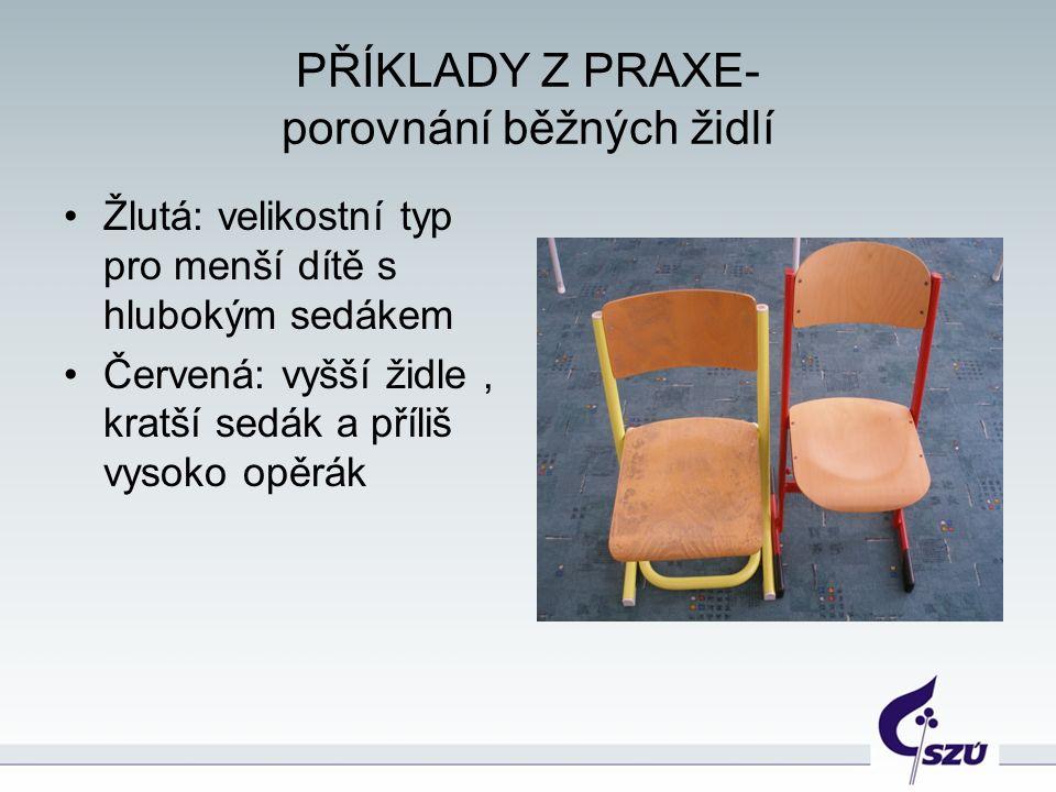 PŘÍKLADY Z PRAXE- porovnání běžných židlí Žlutá: velikostní typ pro menší dítě s hlubokým sedákem Červená: vyšší židle, kratší sedák a příliš vysoko opěrák