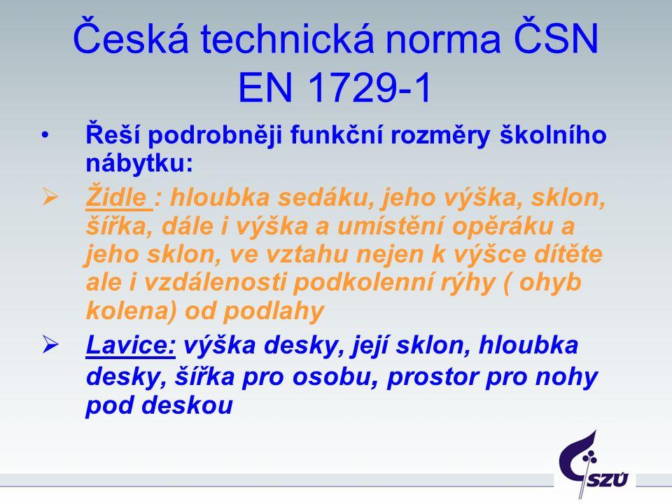 Česká technická norma ČSN EN 1729-1 Řeší podrobněji funkční rozměry školního nábytku:  Židle : hloubka sedáku, jeho výška, sklon, šířka, dále i výška a umístění opěráku a jeho sklon, ve vztahu nejen k výšce dítěte ale i vzdálenosti podkolenní rýhy ( ohyb kolena) od podlahy  Lavice: výška desky, její sklon, hloubka desky, šířka pro osobu, prostor pro nohy pod deskou