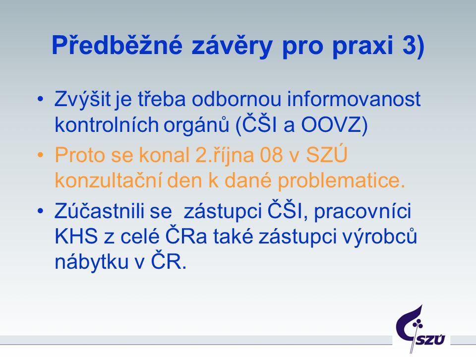 Předběžné závěry pro praxi 3) Zvýšit je třeba odbornou informovanost kontrolních orgánů (ČŠI a OOVZ) Proto se konal 2.října 08 v SZÚ konzultační den k dané problematice.