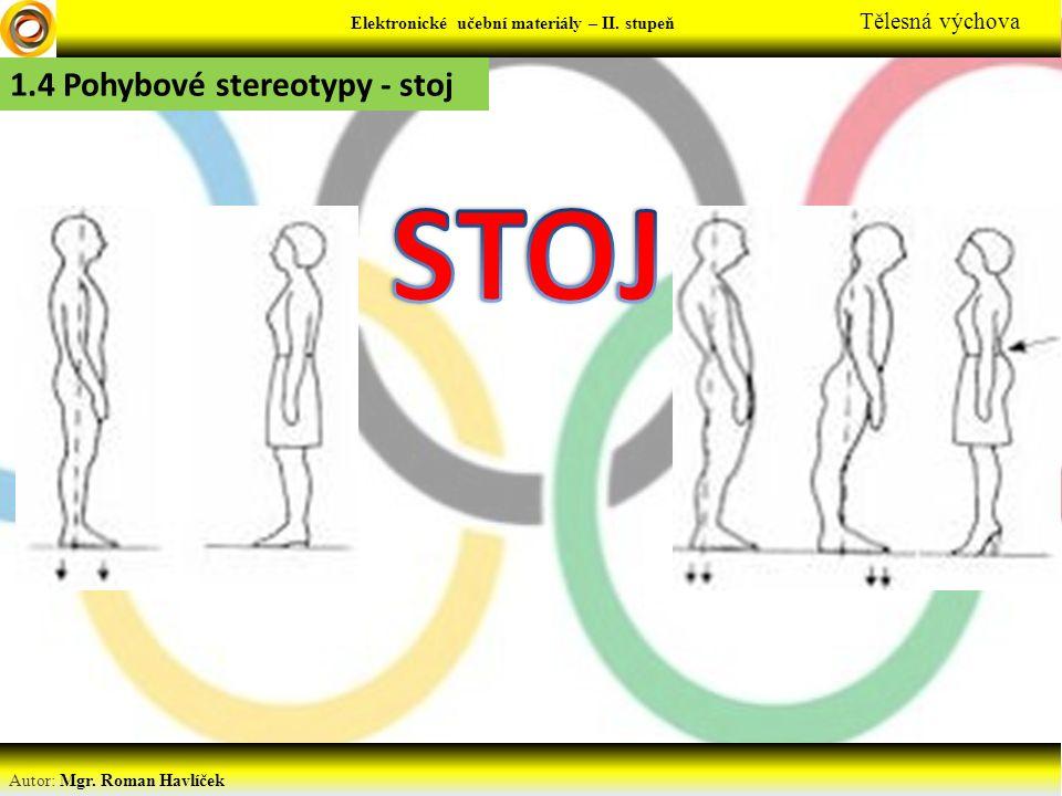 Autor: Mgr. Roman Havlíček Elektronické učební materiály – II. stupeň Tělesná výchova 1.4 Pohybové stereotypy - stoj